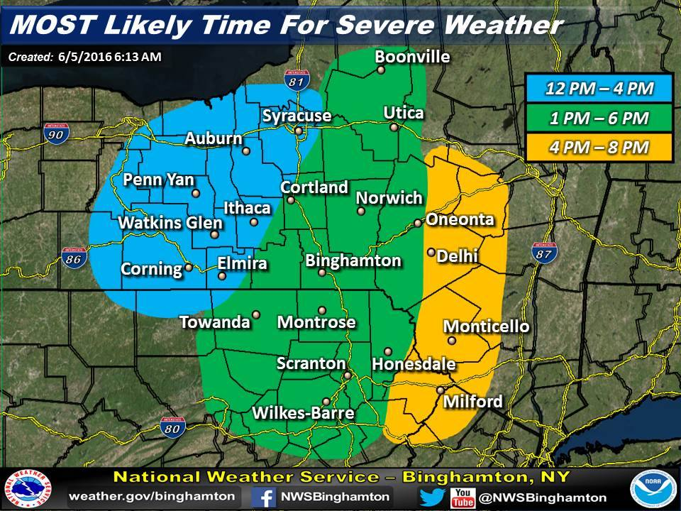 Weather For Sunday : Strong sunday storms expected through finger lakes
